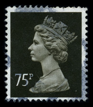 UNITED KINGDOM - CIRCA 1982: An English Used First Class Postage Stamp showing Portrait of Queen Elizabeth in brown, circa 1982. Stock Photo - 8322684