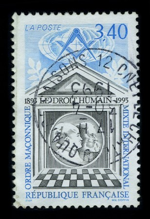 FRANCE - CIRCA 1993: A stamp of the dedicated to The International Order of Co-Freemasonry Le Droit Humain is a global Masonic Order, membership of which is available to men and women on equal terms, regardless of nationality, religion or ethnicity, circa