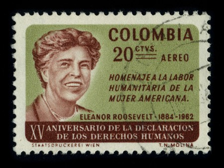 COLOMBIA - CIRCA 1970: A stamp printed in COLOMBIA shows image portrait Anna Eleanor Roosevelt (October 11, 1884 - November 7, 1962) was the First Lady of the United States from 1933 to 1945, circa 1970. Stock Photo - 8322696