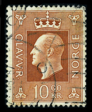 NORWAY - CIRCA 1957: A stamp shows image portrait to the Olav V (2 July 1903 � 17 January 1991) was the king of Norway from 1957 until his death, circa 1957.