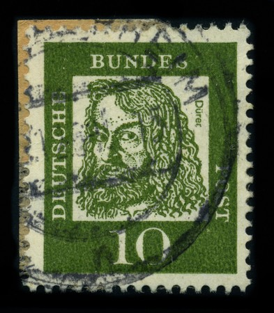 printmaker: GERMANY - CIRCA 1961: A stamp shows image portrait Albrecht Durer (21 May 1471-6 April 1528) was a German painter, printmaker and theorist from Nuremberg, circa 1961.