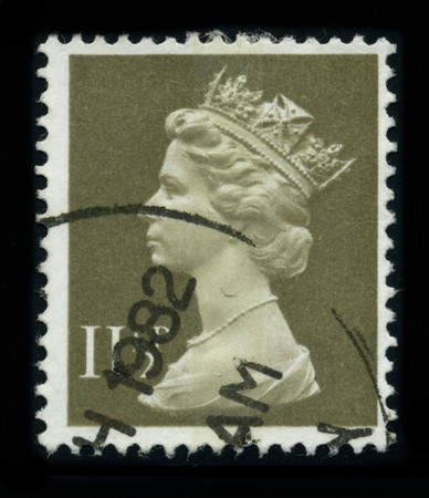 UNITED KINGDOM - CIRCA 1982: An English Used First Class Postage Stamp showing Portrait of Queen Elizabeth in brown, circa 1982.