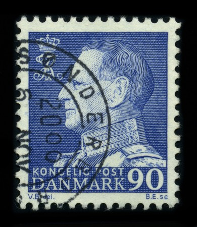 DENMARK - CIRCA 1970: A stamp shows image portrait Frederick IX (Christian Frederik Franz Michael Carl Valdemar Georg) (11 March 1899 - 14 January 1972) was King of Denmark from 20 April 1947 until his death, circa 1970.