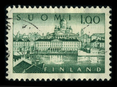 FINLAND - CIRCA 1980: A stamp dedicated to the Helsinki is the capital and largest city in Finland. It is in the southern part of Finland, in the region of Uusimaa/Nyland, on the shore of the Gulf of Finland, an arm of the Baltic Sea, circa 1980. Stock Photo - 8161101