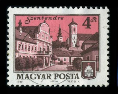 HUNGARY - CIRCA 1980: A stamp shows image of the dedicated to the Szentendre (Serbian language: Ñåíòàíäðå¼à) is a riverside town in Pest county, Hungary, near the capital city Budapest, circa 1980. Stock Photo - 8161091