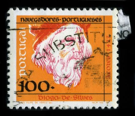 discoverer: PORTUGAL - CIRCA 1990: Un sello dedicado a la Diogo de Silves, (siglo XV) fue un explorador portugu�s del Atl�ntico y descubridor de las islas Azores en 1427, alrededor de 1990.
