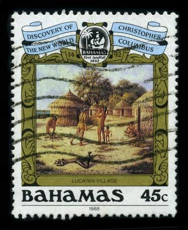 landfall: BAHAMAS - CIRCA 1988: A stamp printed in BAHAMAS shows image of the dedicated to The First Landfall of Columbus, circa 1988. Editorial