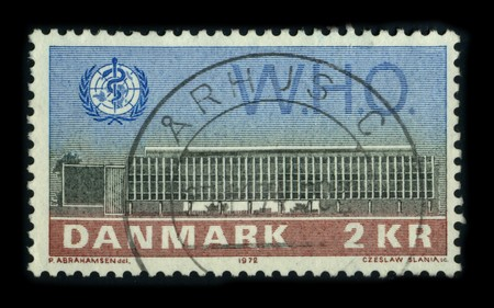 un used: DANMARK - CIRCA 1972: A stamp dedicated to The World Health Organization (WHO) is a specialised agency of the United Nations (UN) that acts as a coordinating authority on international public health, circa 1972. Editorial