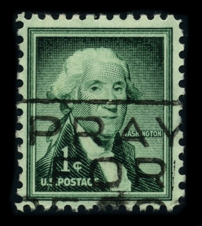 USA - CIRCA 1932: A stamp printed in USA shows image portrait George Washington (1732�1799), was the first president of the United States (1789�1797), circa 1932. Stock Photo - 8161099