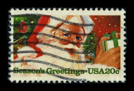 dedicated: USA - CIRCA 1975: A stamp printed in USA shows image of the dedicated to the Seasons Greetings, circa 1975. Editorial