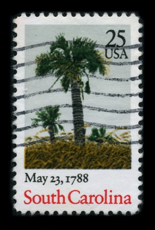 cancelled stamp: USA - CIRCA 1988: A stamp printed in USA shows image of the dedicated to the May 23, 1788 - South Carolina ratifies the United States Constitution and becomes the 8th U.S. state, circa 1988.