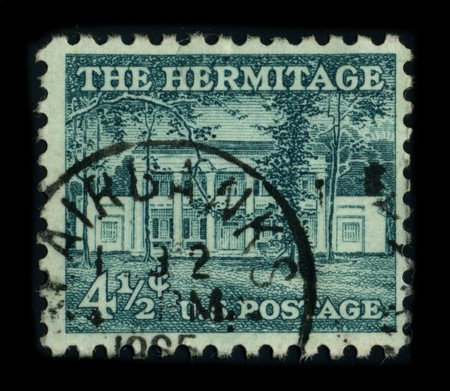 USA - CIRCA 1965: A stamp printed in USA shows image of the dedicated to The Hermitage is a historical plantation and museum located in Davidson County, Tennessee, USA, 12 miles (19 km) east of downtown Nashville, circa 1965.