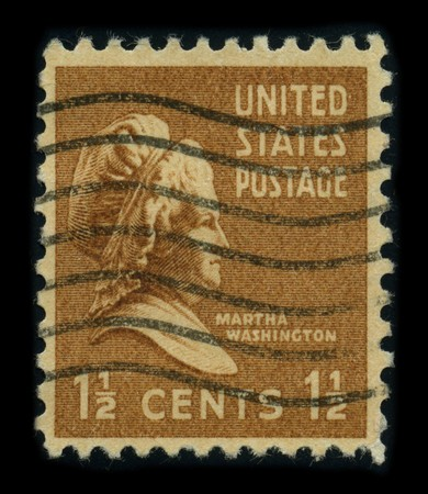 USA - CIRCA 1938: A stamp printed in USA shows portrait Martha Dandridge Custis Washington (June 2, 1731 - May 22, 1802) was the wife of George Washington, the first president of the United States, circa 1938.