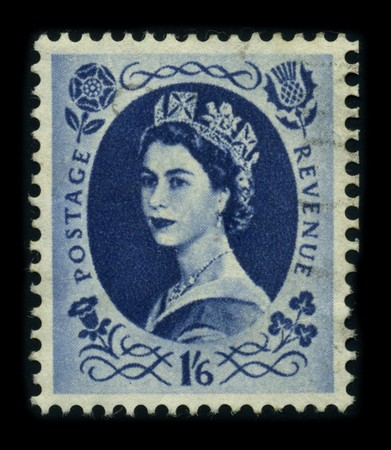 queen elizabeth: UNITED KINGDOM - CIRCA 1960: An English Used First Class Postage Stamp showing Portrait of Queen Elizabeth in blue, 1960.
