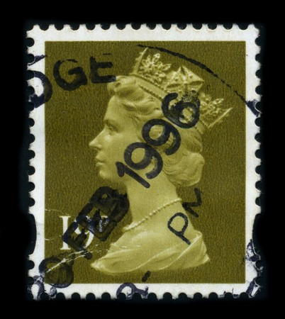 UNITED KINGDOM - CIRCA 1996: An English Used First Class Postage Stamp showing Portrait of Queen Elizabeth in gold, circa 1996.
