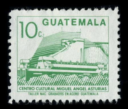asturias: GUATEMALA - CIRCA 1980: A stamp dedicated to The Centro Cultural Miguel Angel Asturias, commonly named Teatro Nacional, is a cultural center in Guatemala City, Guatemala, circa 1980.