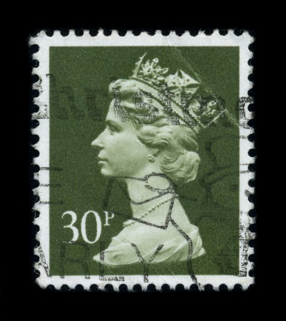 UNITED KINGDOM - CIRCA 1996: An English Used First Class Postage Stamp showing Portrait of Queen Elizabeth in green, circa 1996. Stock Photo - 8194281