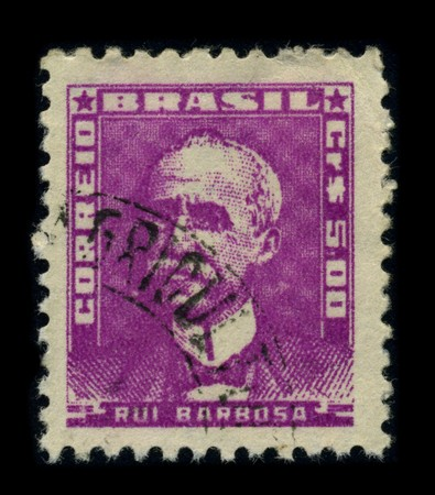 jurist: BRAZIL - CIRCA 1940: A stamp shows image portrait Ruy Barbosa de Oliveira (November 5, 1849 - March 1, 1923) was a Brazilian writer, jurist, and politician circa 1940.