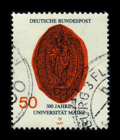 gutenberg: GERMANY-CIRCA 1977: A stamp dedicated to The Johannes Gutenberg University of Mainz (German: Johannes Gutenberg-Universitat Mainz) is a university in Mainz, Rhineland Palatinate, Germany, named after the printer Johannes Gutenberg, circa 1977.
