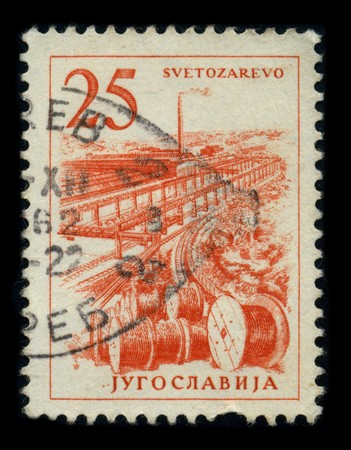YUGOSLAVIA-CIRCA 1962: A stamp dedicated to the Jagodina (From 1946 to 1992 the town was renamed Svetozarevo after a 19th-century Serbian socialist Svetozar Markovic) is a city and municipality located in central Serbia, 136 km south of Belgrade, on the b Stock Photo - 8194321