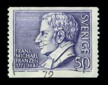 frans: SWEDEN - CIRCA 1972: A stamp printed in SWEDEN shows image portrait Frans Michael Franzen (9 February 1772 - 14 August 1847) was a Swedish and Finnish poet, circa 1972. Editorial