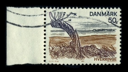 mentioned: DENMARK-CIRCA 1974: A stamp dedicated to the Hverriinge is an old seat house, which was first mentioned in 1350 The farm is located in Viby Sogn, Mountain District, Kerteminde Municipality, circa 1974. Editorial