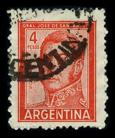 jose de san martin: ARGENTINA-CIRCA 1980: A stamp printed in ARGENTINA shows image portrait Jose Francisco de San Martin, also known as Jose de San Martin (c. 1778 - 17 August 1850), was an Argentine general and the prime leader of the southern part of South Americas succes