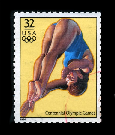 USA - CIRCA 1996: A stamp dedicated to The Womens Diving, circa 1996.