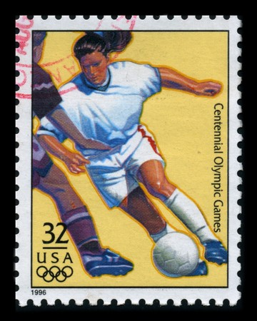 USA - CIRCA 1996: A stamp dedicated to The Womens Soocer, circa 1996.