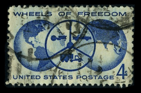 l first: USA - CIRCA 1980: A stamp dedicated to The Freedom Wheels Program is an initiative set up by the Technical Aid to the Disabled (TAD) organisation with the goal of supplying kids with disabilities modified bikes, circa 1980. Editorial