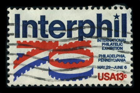 USA - CIRCA 1976: A stamp dedicated to the INTERPHIL, or the Seventh International Philatelic Exhibition, was the seventh decennial philatelic exhibition for the United States held under the auspices of the Federation Internationale de Philatelie (FIP), c Editorial