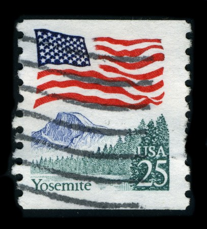 USA - CIRCA 1980: A stamp dedicated to the Yosemite National Park is a United States National Park spanning eastern portions of Tuolumne, Mariposa and Madera counties in east central California, United States, circa 1980.