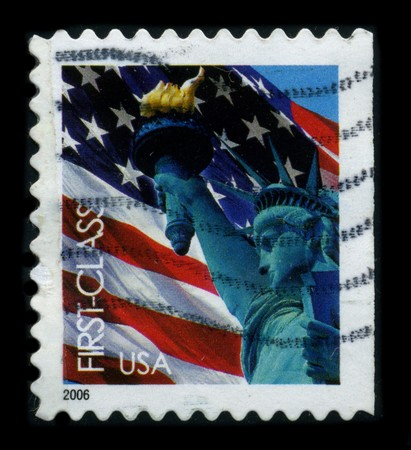 frederic: USA-CIRCA 2006: A stamp dedicated to the The Statue of Liberty (Liberty Enlightening the World [French: La Liberte eclairant le monde]) is a colossal neoclassical sculpture on Liberty Island in New York Harbor, designed by Frederic Bartholdi and dedicated