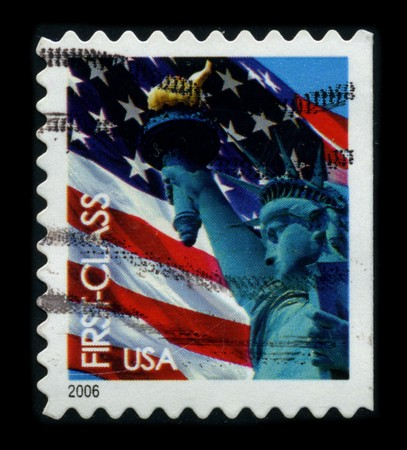 USA-CIRCA 2006: A stamp dedicated to the The Statue of Liberty (Liberty Enlightening the World [French: La Liberte eclairant le monde]) is a colossal neoclassical sculpture on Liberty Island in New York Harbor, designed by Frederic Bartholdi and dedicated Stock Photo - 8194341