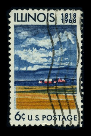 microcosm: USA - CIRCA 1968: A stamp dedicated to the Illinois is the fifth-most populous state of the United States of America, and is often noted for being a microcosm of the entire country, circa 1968.