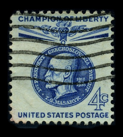 sociologist: USA - CIRCA 1935: A stamp image portrait Tomas Garrigue Masaryk, sometimes called Thomas Masaryk in English, (7 March 1850 - 14 September 1937) was an Austro-Hungarian and Czechoslovak politician, sociologist and philosopher, who as an eager advocate of C