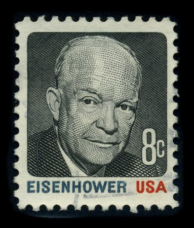 USA - CIRCA 1980: A stamp shows image portrait Dwight David Ike Eisenhower (October 14, 1890 - March 28, 1969) was a five-star general in the United States Army and the 34th President of the United States, from 1953 until 1961, and the last to be born i