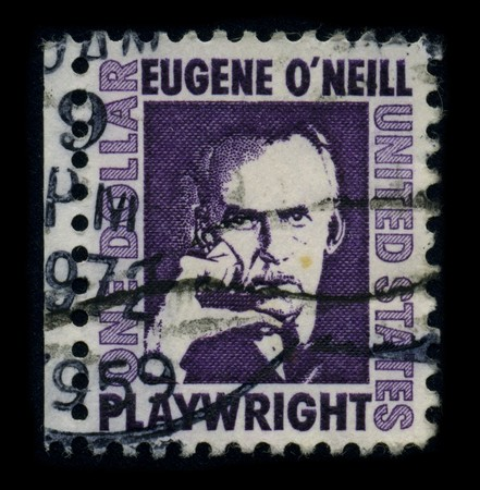 laureate: USA-CIRCA 1959: A stamp printed in USA shows portrait Eugene Gladstone ONeill (16 October 1888 - 27 November 1953) was an American playwright, and Nobel laureate in Literature circa 1959.