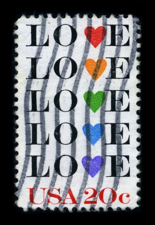 USA - CIRCA 1980: A stamp printed in USA shows image of the dedicated to the Love, circa 1980. Stock Photo - 8194347
