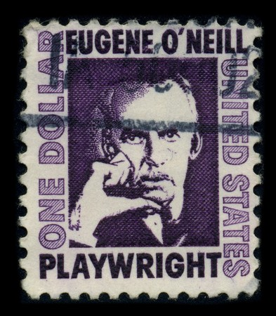 laureate: USA-CIRCA 1972: A stamp printed in USA shows portrait Eugene Gladstone ONeill (16 October 1888 - 27 November 1953) was an American playwright, and Nobel laureate in Literature circa 1972.