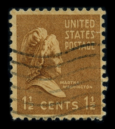 martha: USA - CIRCA 1938: A stamp printed in USA shows portrait Martha Dandridge Custis Washington (June 2, 1731 - May 22, 1802) was the wife of George Washington, the first president of the United States, circa 1938. Editorial