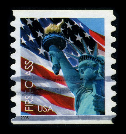 USA-CIRCA 2006: A stamp dedicated to the The Statue of Liberty (Liberty Enlightening the World [French: La Liberte eclairant le monde]) is a colossal neoclassical sculpture on Liberty Island in New York Harbor, designed by Frederic Bartholdi and dedicated