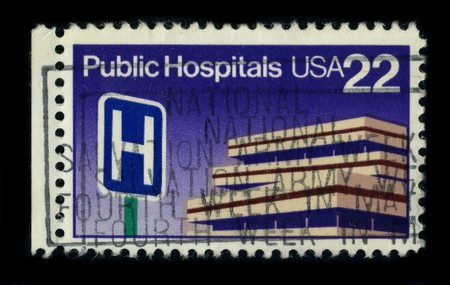 public hospital: USA - CIRCA 1980: A stamp dedicated to the Public Hospital or government hospital is a hospital which is owned by a government and receives government funding, circa 1980. Editorial