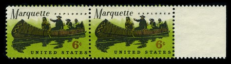 marquette: USA - CIRCA 1980: Two stamp dedicated to the Father Jacques Marquette S.J. (June 10, 1637 - May 18, 1675), sometimes known as Pere Marquette, was a French Jesuit missionary who founded Michigans first European settlement, circa 1980. Editorial