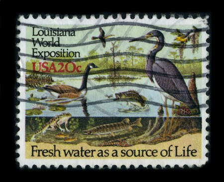 USA - CIRCA 1984: A stamp dedicated to The 1984 Louisiana World Exposition was a World's Fair held in New Orleans, Louisiana, circa 1984. Stock Photo - 8322997