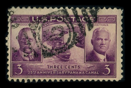 joins: USA - CIRCA 1960: A stamp dedicated to The Panama Canal is a 77 km ship canal in Panama that joins the Atlantic Ocean and the Pacific Ocean and is a key conduit for international maritime trade, circa 1960.