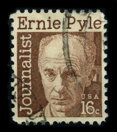 USA - CIRCA 1970: A stamp shows image portrait Ernest Taylor Pyle (August 3, 1900 - April 18, 1945) was an American journalist who wrote as a roving correspondent for the Scripps Howard newspaper chain from 1935 until his death in combat during World War