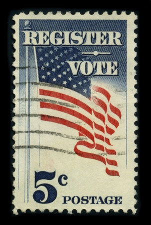 USA - CIRCA 1980: A stamp dedicated to the Voter registration is the requirement in some democracies for citizens and residents to check in with some central registry specifically for the purpose of being allowed to vote in elections, circa 1980. Stock Photo - 8322962