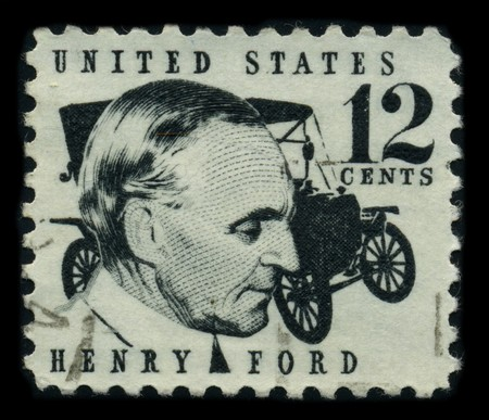 ford: USA - CIRCA 1970: A stamp shows image portrait Henry Ford (July 30, 1863 - April 7, 1947) was a prominent American industrialist, the founder of the Ford Motor Company, circa 1970.