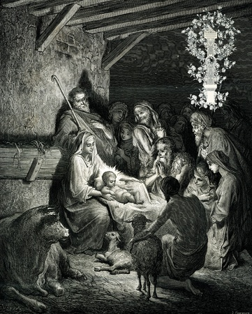 nacimiento de jesus: Navidad inicial victoriana letra I.